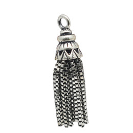 Wholesale Beadsnice Metal Tassel Sterling Silver Tassel Charms Pendants in Antique Silver Tone for Long Necklace Earring Making ID