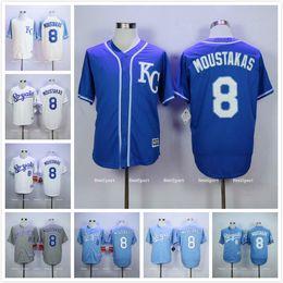 Kansas City Royals 8 Mike Moustakas Jersey White Home Gray Road Blue Cream, 1985 Mike Moustakas Blue Throwback Baseball Jerseys