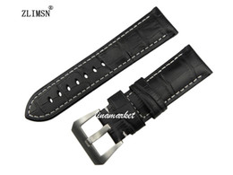 Thick Genuine Leather Watch Band 24mm for PANERAI Black Strap Bracelet Mens Watches Band Leather Watchband Rubber