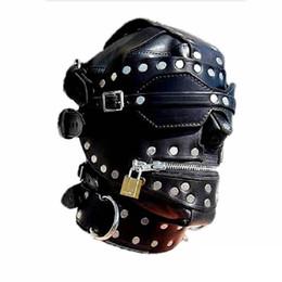 Wholesale Leather Slaves - Kinky Metal Stud Finish Fetish Bondage Leather Hoods Head Mask Slave Training Zipper Full Head Harness Costume