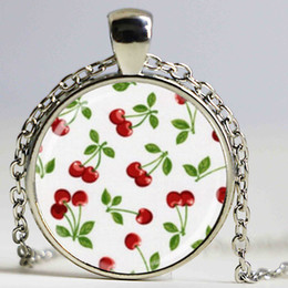 Wholesale Cherry necklace rockabilly jewelry glass bezel ary pendant
