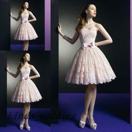 Free Shipping A-Line Pink Wedding Dresses Vestidos para boda cortos Lace Beach Casual Short Bridal Gown Wedding Dress