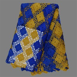 Hot sale royal blue with gold French cord material African guipure mesh lace fabric for dress EW106-1(5yards pc)