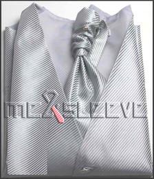 Promotion boutons de manchette de smoking Gros-4pcs tuxedo gilet (veste + ascot cravate + Boutons de manchette + mouchoir)