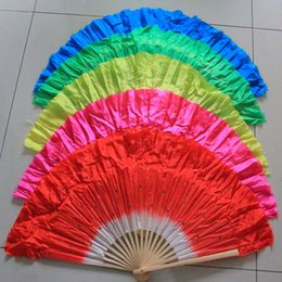 Wholesale Chinese Fan Red - Free shipping 10pcs lot Chinese style silk veil belly dance fan bamboo frame silk hand fan with 5colors available
