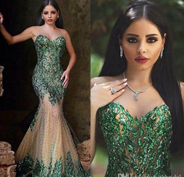 2016 Hot Sexy Dark Emerald Green Sequined Mermaid Evening Dresses Sweetheart Zipper Back Beaded Chapel Train Arabic Prom Evening Dress Wear