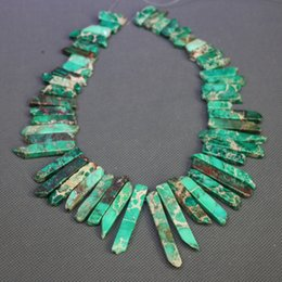 Jasper Natural Green Gemstone Emperor Imperial Jasper Beads Top Drilled Spike Rock Beads Wholesale Price Women Necklace Making Jewelry