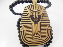 Wholesale Pharaoh of Egypt Good Wood Hip Hop Wooden Necklace Rosary Jewery colors