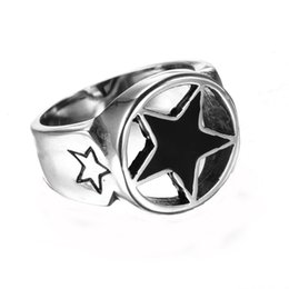 Wholesale Men s Stainless Steel Ring Lucky Star Punk Rock Vintage Roll Silver Style Size Avivahc