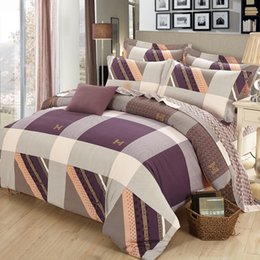 Wholesale 2016 New Design Lattice Cotton Bedding Sets Twin Full Queen Size Bedclothes Single Double Bed Linen Geometry Printed Bed Sheet Grid Duvet Co