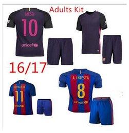 Wholesale 2016 NEW Barcelona Kids home Soccer Jersey Messi Boys Set Barcelona jerseys football children