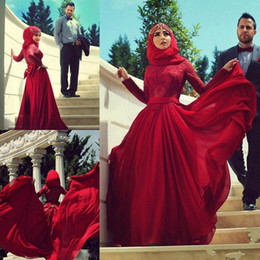 Wholesale Hot Sale Red Muslim Evening Dresses Sleeves Lace Appliqued Arab Prom Dress Sweep Train Chiffon Dubai Party Evening Gowns
