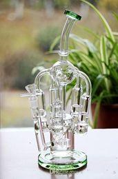2016 crdp de verre En stock Verre Vert Bongs Joint 14.4mm 5 Honeycomb Percs Pneu Perc Recycler plates-formes pétrolières Bongs en verre Tuyaux d'eau Hookahs Prix de gros crdp de verre ventes