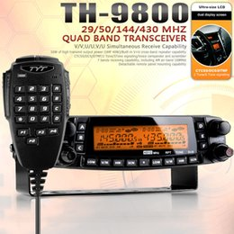 Wholesale-Vehicle Radio TYT TH-9800 Car Radio VHF50W UHF35W 800CH Quad Band Transceiver Cross-band Dual Display screen Mobile Radio th9800