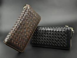 Man Clutch Genuine Leather Crochet Zip Wallet Credit Card Long Shape Clutch Black Brown Business Man Design