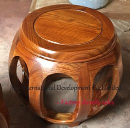 Wholesale Antique Small drum stool home casual siting in natural lacquer craft luxury African Red sandalwood mini luxury wood chair