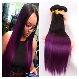 9A 1B Purple Ombre Malaysian Human Hair Silky Straight Dark Roots Purple Two Tone Colored Malaysian Human Hair Bundles Deals 3Pcs Lot