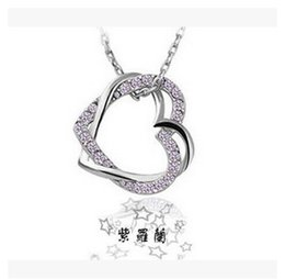 Korean version hot models Full drill double peach heart necklace leash wound your heart wholesale women jewelry