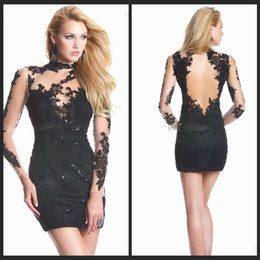 Wholesale Sexy Party Coctail Dresses - 2016 Little Black Cocktail Party Dresses with Sexy Sheer High Neck Glamorous Beaded Lace Applique Long Sleeves Sheath Coctail Dresses