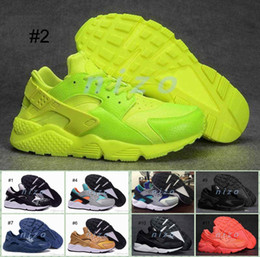 Wholesale 2016 Air Cushion Huarache Ultra Running Shoes Yellow Black White Men And Womens PA Huaraches Sneakers Shoes Size