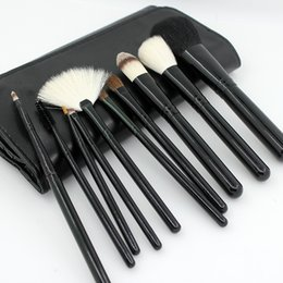 Wholesale 10 Animal Hair Professional Makeup Brush Kits Wool Makeup Brush Sets Horse Hair Makeup Tools Blusher Eye Shadow Brush