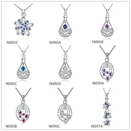factory direct sale fashion women's gemstone 925 silver necklaces pendant 10 pieces mixed style,sterling silver pendant necklaces GTN16