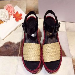 Wholesale Hot cm wedge sandals raffia straw italy technology Stripe knit high side desigh fasion ladies best love increase your height beauty legs
