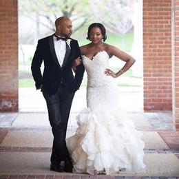 Luxury 2016 Lace Mermaid African Wedding Dresses Vintage Robe De Mariage Sweetheart Organza Ruffles Bridal Gowns Plus Size Custom Made