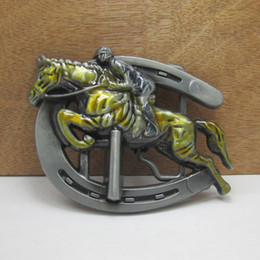 BuckleHome Running horse belt buckle animal belt buckle western belt buckle with pewter plating FP-02464 free shipping