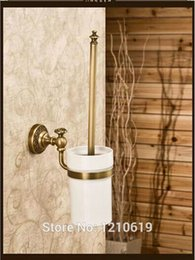 Wholesale Cleaning Brush Set And Retail Flower Carving Antique Brass Toilet Brush Holder Ceramic Cup Wall Mount