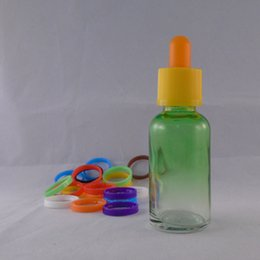 Colorful 30ml The Gradient Green Empty E Liquid Glass Dropper Bottles with Child Proof Bottle caps E liquid Free shipping