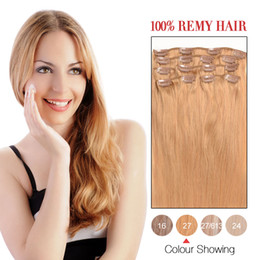 Hot Sale Human Hair Wefts Indian Silky Straight hair Clip In Hair Extensions#27 7Pcs Set