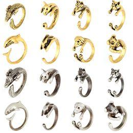 Wholesale 2016Bague Anillos De Animales Antique Silver Crocodile Rings Crocodile Alligator Animal Ring For Women Anelli zj