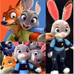 2016 New Zootopia Nick Wilde Embroidery Judy Hopps Plush Toy Stuffed Animals Cartoon Dolls Animation Toys Children Gift 28CM free shipping