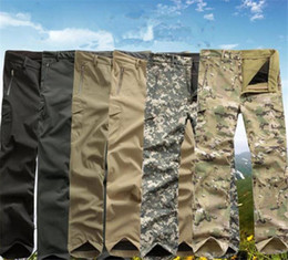 Wholesale New High quality Men s Lurker Shark skin Soft Shell Outdoor Military Tactical Hiking Pants Waterproof Windproof Sports Army camouflage