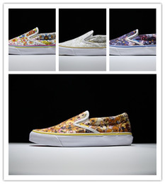 Wholesale 1 quality Low Vault by Takashi Murakami print flowers canvas shoes