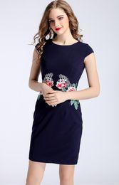 Embroidery Women Sheath Dress Round Neck OL Work Dresses 0416022 Plus Size