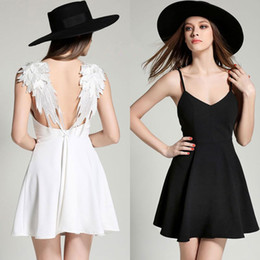 Wholesale Sexy Cotton Night Gown - Summer Lady Sexy Lace Hollow-out Backles Dress Beach Angel Wings Evening Dress