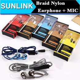 Wholesale 3 mm In ear Bass Earphone Stereo Headset Headphone Wire Braided Woven Nylon Cable with Mic Earbuds Retail Box For iPhone Samsung HTC LG