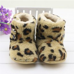 Wholesale Stylish design leopard baby Faux Fleece Snow Boot Soft Sole Kids Wool Baby Shoes for winter baby best gift