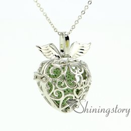wings heart openwork diffuser necklace diffuser pendant wholesale wholesale lockets perfume pendant metal volcanic stone