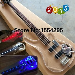 Wholesale In Stock Top Quality Factory Custom string P Electric Bass guitar fd transparent acrylic Body with LED light V T Real photo
