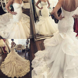 2017 Spaghetti Lace Mermaid Wedding Dresses With Organza Ruched Long Train Back Covered Buttons Bridal Gowns Custom Made Wedding Dresses