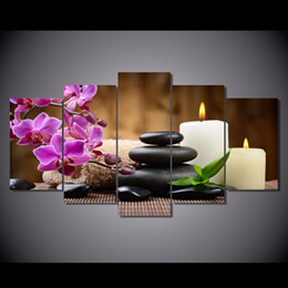 Wholesale 5 Set Framed Printed Phalaenopsis pink candle Painting Canvas Print room decor print poster picture canvas QT005