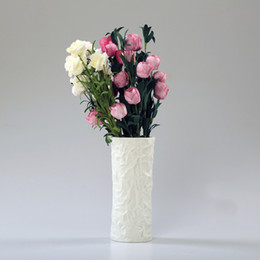 Wholesale Modern simple handmade white ceramic vase highq quality living room dining table bookcase home decoration style N003