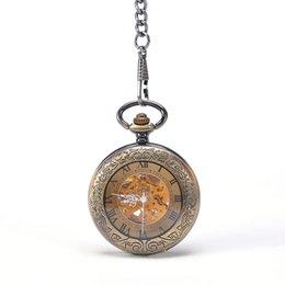 Wholesale Antique Bronze Transparent Front Case Vine Border Automatic Self wind Mechanical Pocket Watch Mixed