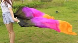 2016 High selling 100% Real Silk Veils 1 Pair handmade women Quality Silk Belly Dance Fan black purple rose orange white color 180*90 cm