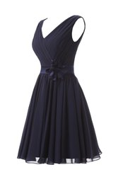 Real Short V-neck Junior Bridesmaid Dresses Navy Blue With Belt Handmade Flower Chiffon Pleats Evening Prom Party Dresses Gowns
