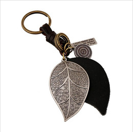 Wholesale Punk Art Genuine Leather Cut out men women keychain bag pendant Alloy leaves Car key chain ring holder Jewelry New