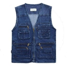 Wholesale Men s Denim Vest Walking Travel Jeans Vests Sleeveless Jean Jacket Waistcoat Vest Reporter Photographer Vest